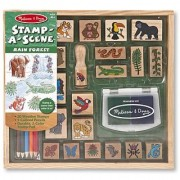 Melissa & Doug Stamp-a-Scene Stamp Set: Rain Forest - 20 Wooden Stamps 5 Colored Pencils and 2-Color Stamp Pad