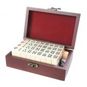 Attica Mahjong / Majiang Super-Mini Travel Set, Non-Standard Small Game Pieces Made of White Ivory Imitation, Fine Wood Casket, Mod. MJ001-01 (US)