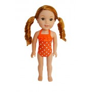 My Brittany's Orange Swimsuit for American Girl Dolls Wellie Wishers
