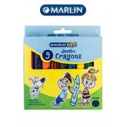 Marlin Kids jumbo 9 Wax Crayons 14mm Single pack,