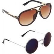 Zyaden Aviator, Round Sunglasses(Blue, Brown)