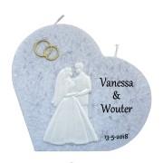Trouwkaars hart grijs met was decoratie bruidspaar/gouden ringen