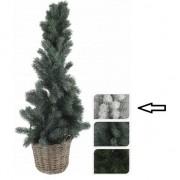 Bellatio Decorations Kleine kerstboom wit in mand 80 cm