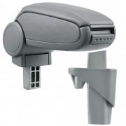 [pro.tec]® Naslon za ruke – specifičan za Opel Agila A / Suzuki Wagon R+ - naslon za ruke za auto - sa pretincem - umjetna koža - siva