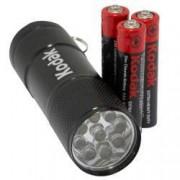 Lanterna cu 9 LED-uri Kodak 3 baterii AAA incluse 1.5 V neagra 12444BLK
