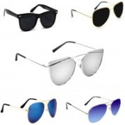Sulit Aviator, Wayfarer, Cat-eye Sunglasses(Silver, Black, Black, Blue, Blue)