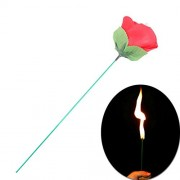 MilesMagic Flame Appearing Flower Torch Fire to Rose for Close up Magic Trick, Red