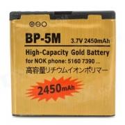 Bateria de repuesto 3.7V 2450mah BL-5M-GD para Nokia 5610/5700/6110/6220/6500/8600-dorado
