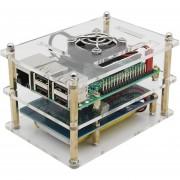 Raspberry Pi 3 + Batería A Bordo + Caja + Disipador + Ventilador + Kit De Cable USB