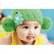 EJA Art Cute-Korean-baby-green-hat Without Frame Paper Poster Size 30X45 cms (With 12 Butterfly Free)