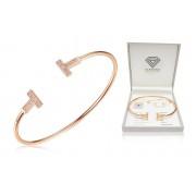 Rose Gold 0.018ct Diamond Bangle