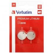 VERBATIM Pack 2 Piles CR2016 3V