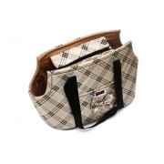 Chic Tan Plaid Carrier Bag