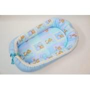 Baby nest 0-6 luni cu ursuleti pe bleu+protectie