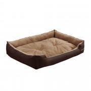 [en.casa]® Pelíšek - pro kočičky a pejsky - s oboustranným polštářem - oxford látka / PP-bavlna - 90 x 70 x 20 cm [XL] - tmavě hnědý / světle hnědý