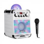 Auna Rockstar LED Equipo de karaoke Reproductor de CD Bluetooth USB AUX 2 x 6,3mm blanco (RM10-Rockstage white)