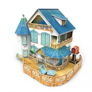 CubicFun Pretty Classic Rural Villa Dollhouse 3D Puzzle Place P635h DIY W LED Lights and furniture Great Holiday gift