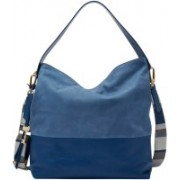Fossil Women Blue Genuine Leather Hobo