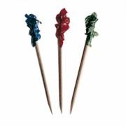 Pique en bois avec embouts de couleurs assorties 6.5 cm - carton de