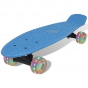 vidaXL Blue Retro Skateboard with LED Wheels