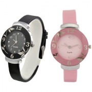Rjcreation Analog Black and Pink Glory Watches combo for girls and womens at best low prices