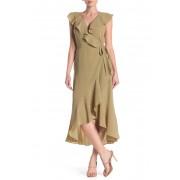 Max Studio Patterned Ruffle Wrap Midi Dress MZECRT SWRL HRT ENCLSD