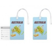 100yellow Luggage Tags- Printed High Quality Gloss Finish PVC Travel/Bag Tag with Silicon Strap- Ideal For Gift-Pack Of 2 Luggage Tag(Multicolor)