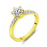 Anillo De Compromiso Con Laterales Fashion Boutique De México L-29 Con Montadura De Oro Amarillo De 14Kt Y Diamante Central De .18ct
