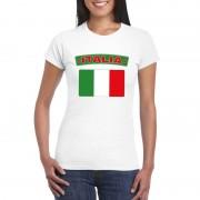 Bellatio Decorations T-shirt met Italiaanse vlag wit dames