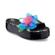 Crocs Crocband™ Platform Hyper Tropic Slides Unisex Neon Floral / Black 38