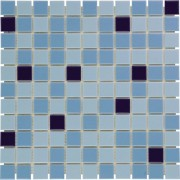 Mozaiektegel Barcelona Light Blue - Blue - Dark blue Glossy Porcelain 303x303