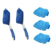 2Carpet Brush Microfibre Wet and Dry Brush with 3Microfibre Gloves