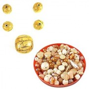 eshoppee handmade beads 30 mm and 18mm resin round beads creck design set of 5 pcs with 100 gm glass beads for jewellery