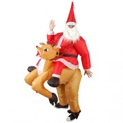 HITSAN INCORPORATION Christmas Party Home Decoration Inflatable Ride Deer Santa Claus Costume Toys Props for Kids Gift