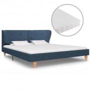 vidaXL Pat cu saltea, albastru, 180 x 200 cm, material textil