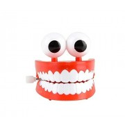 3 Inch Jumbo Chattering Teeth with Eyes Classic Wind up Office Toy Denture