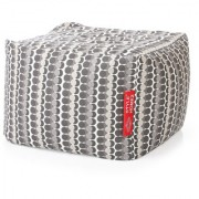 Style Homez Square Cotton Canvas Polka Dots Printed Bean Bag Ottoman Stool Large with Beans Grey Color