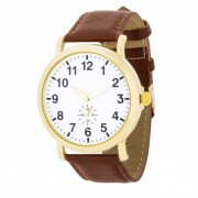 J. Goodin Leather Strap Classic Wrist Watch Brown/Gold/White TW-14810