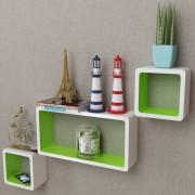 vidaXL 3 White-green MDF Floating Wall Display Shelf Cubes Book/DVD Storage