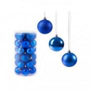 Set globuri Craciun pentru brad din plastic 6cm 24 buc albastru