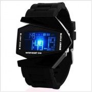 fast selling Bomber Aircraft LED Black Digital Silicon Watch