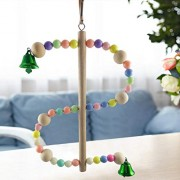 Colorful Beads S Shape Standing Ladder Toy for Bird Parrot Macaw African Grey Budgie Parakeet Cockatiels Conure Lovebird Finch Cage Perch Pet Bird Stand Rack Biting Hanging Toy