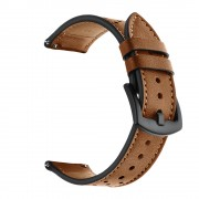 For Huawei Watch GT 2/1 with Holes Cowhide Genuine Leather Watch Band - Brown
