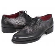 Paul Parkman Genuine Python Goodyear Welted Calfskin Wingtip Oxford Shoes Grey & Black 27PT-GRYBLK