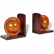 vidaXL Bookstand World Map Globe Bookend Classic A Pair