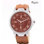 Mark Regal Analog Brown Leather Strap Men's Wrist Watch