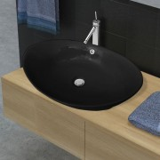 vidaXL Black Luxury Ceramic Basin Oval with Overflow 59 x 38.5 cm