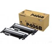 Samsung Pack de dos tóner de CLT-K406S Original SAMSUNG CLT-K406B 1500 páginas compatible con CLP-360/CLP-365/CLX-3300/CLX-3305/C410/C460