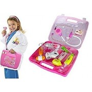 Techhark Doctor's Kit Pretend Play Toy Set with Multiple Playing Accessories for Kids (Pink Sqr)