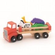 Camion colorat din lemn cu animalute, 26.5 cm